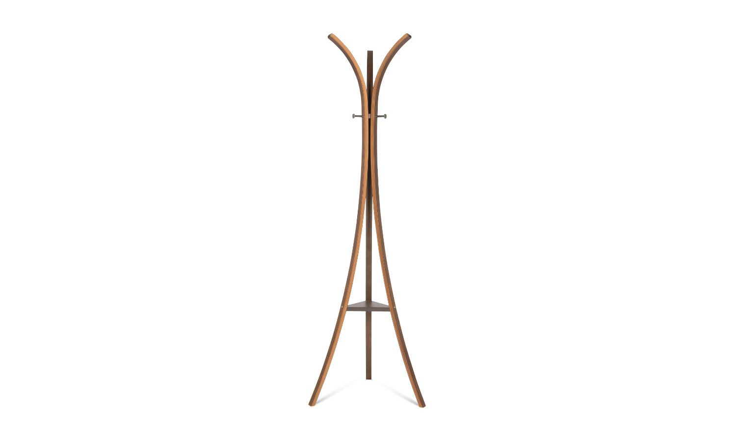 three legged timber coat and hat stand