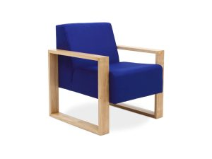 single seater lounge with blue fabric