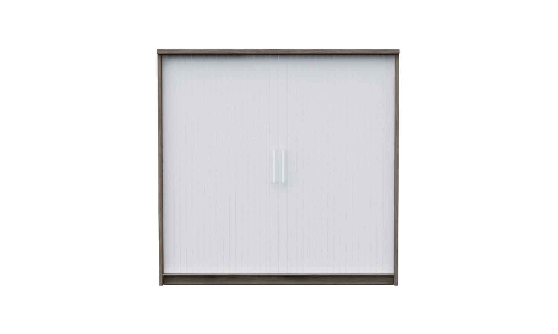 Tambour door cabinet storage