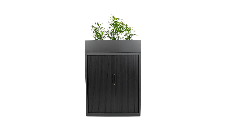 black tambour door storage with planter