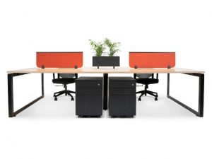 office workstation with planter and storage