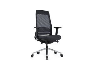 black office task chair with polished base