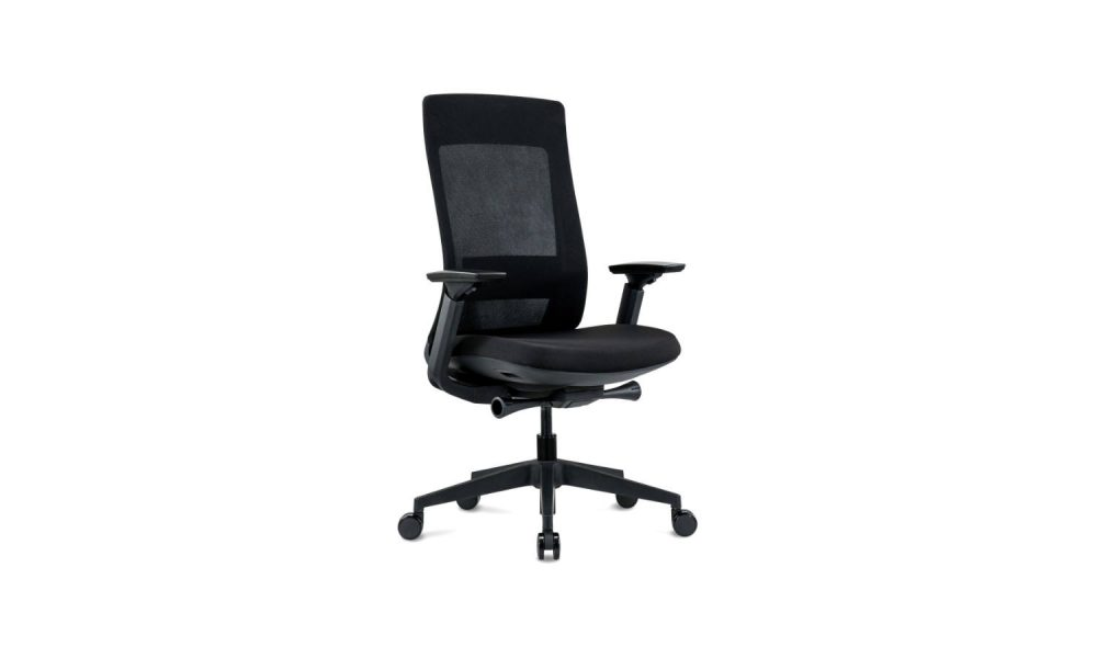 black office task chair with black nylon base