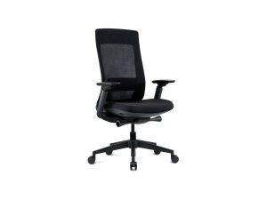 black office task chair with black nylon base