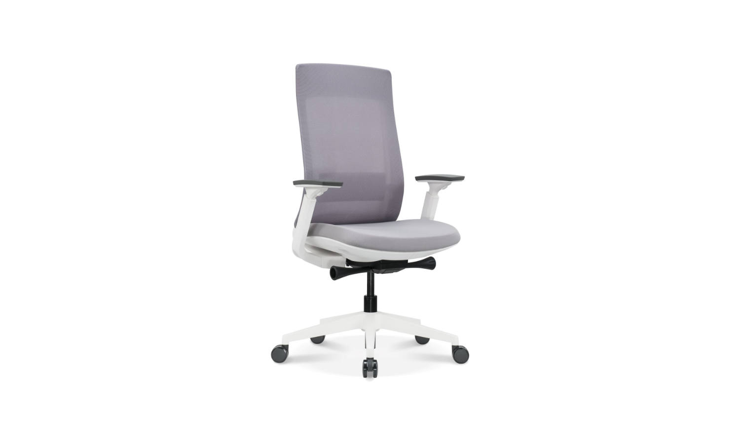 grey office task chair with white base