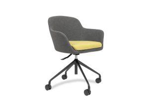 fabric armchair with 4 star base on castors