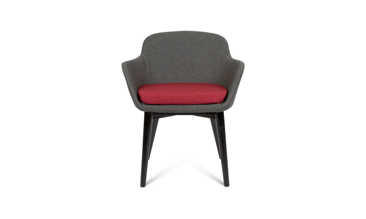 fabric armchair with 4 black timber legs