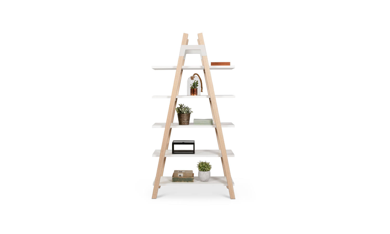 ladder bookcase in timber and melamine