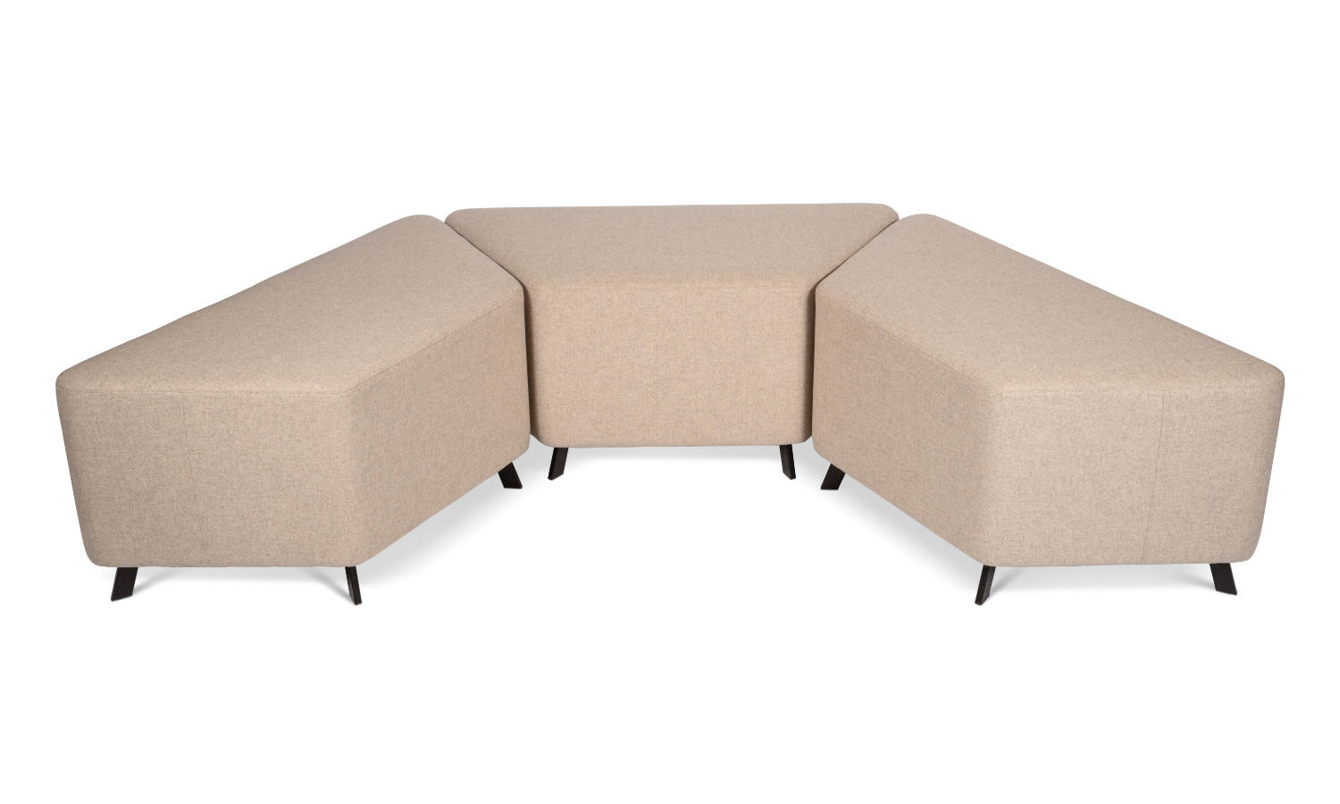 trapezium shaped ottomans grouped together
