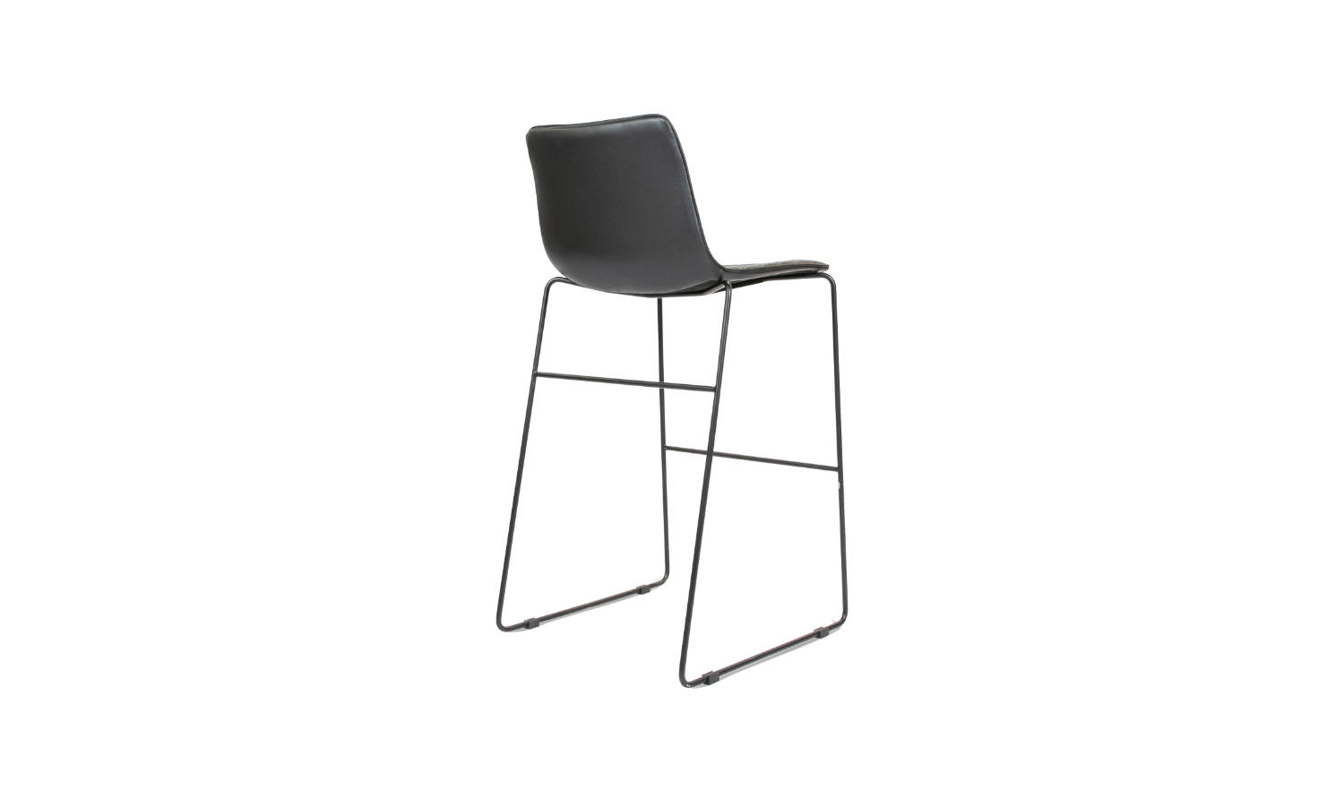 stool with sled base and black pu