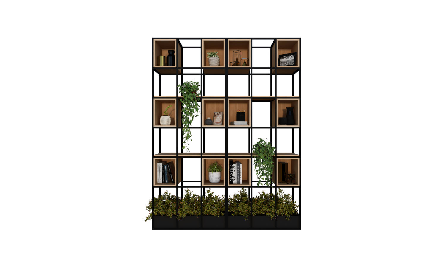 room divider with storage and planter