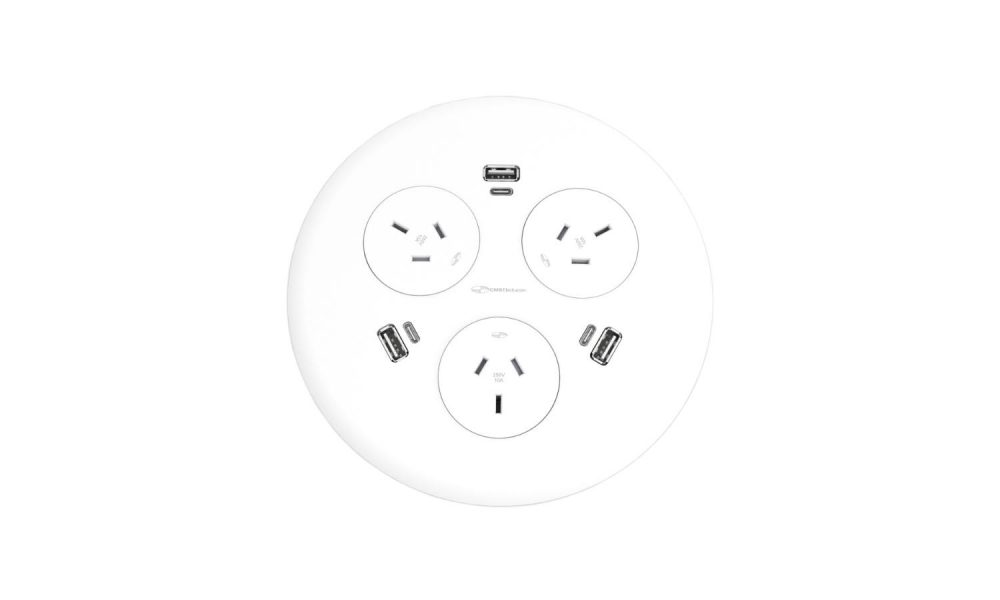 round power outlet with usb outputs
