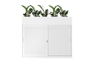 sliding door storage cabinet with planter in white