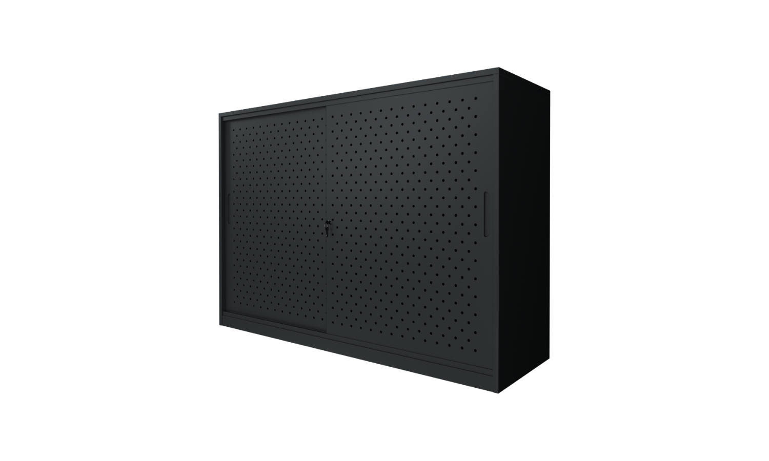 black sliding door storage cabinet in black
