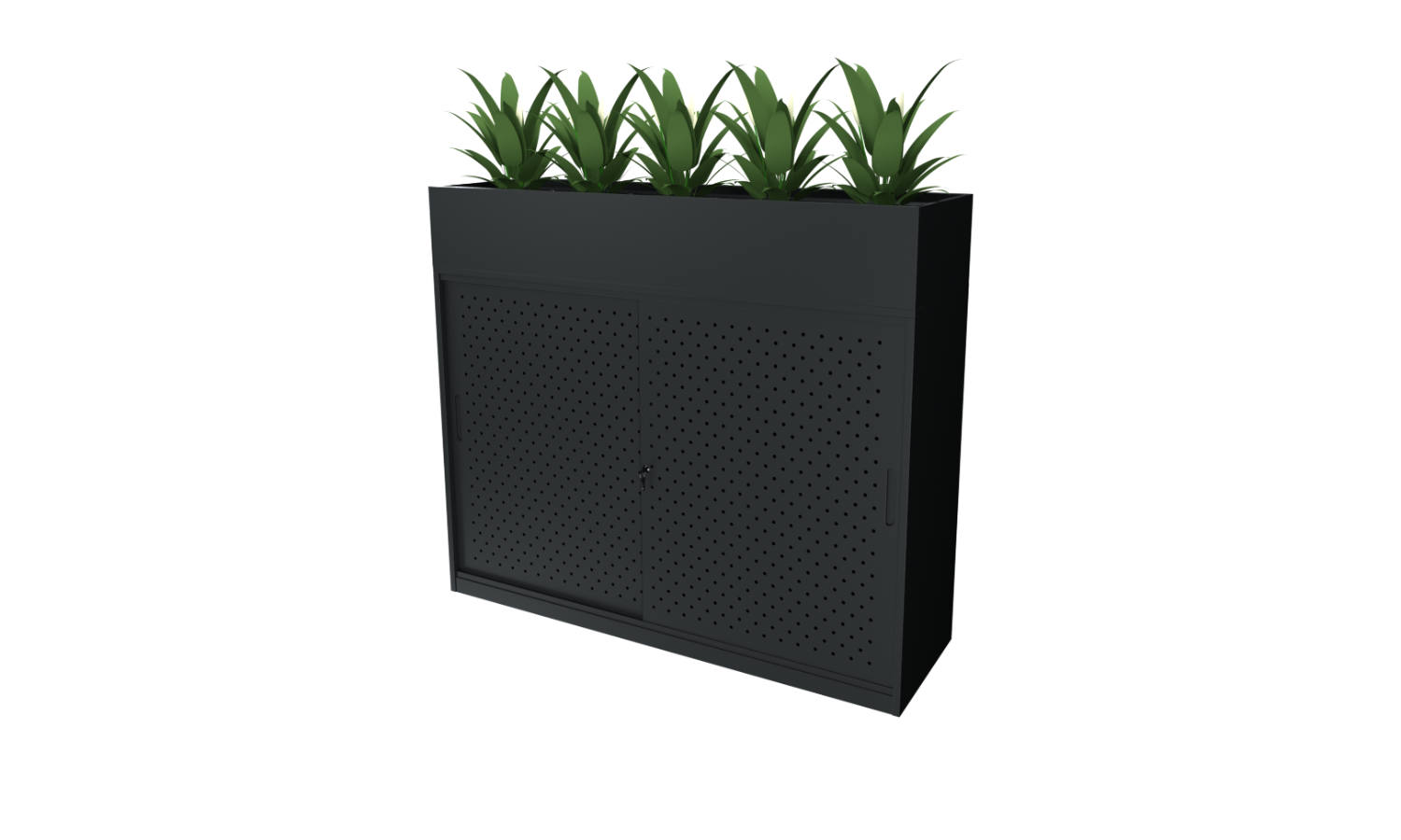 black sliding door storage cabinet with planter in black
