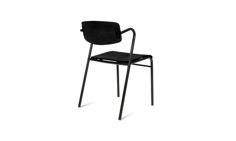 back view of black visitor chair for office