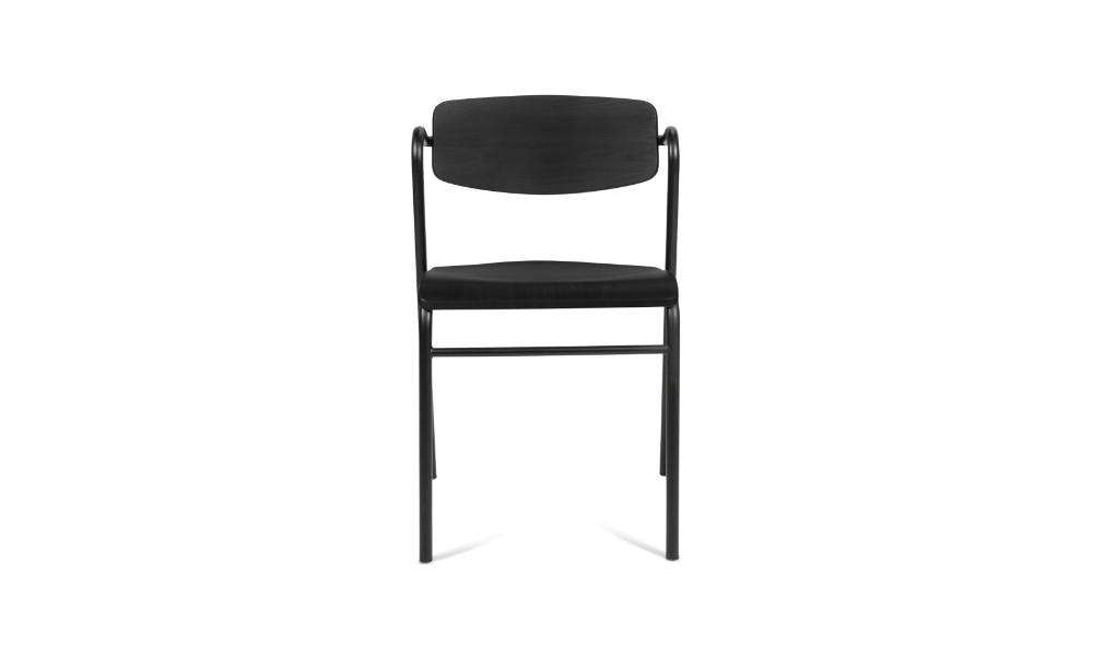 front view of black visitor chair for office