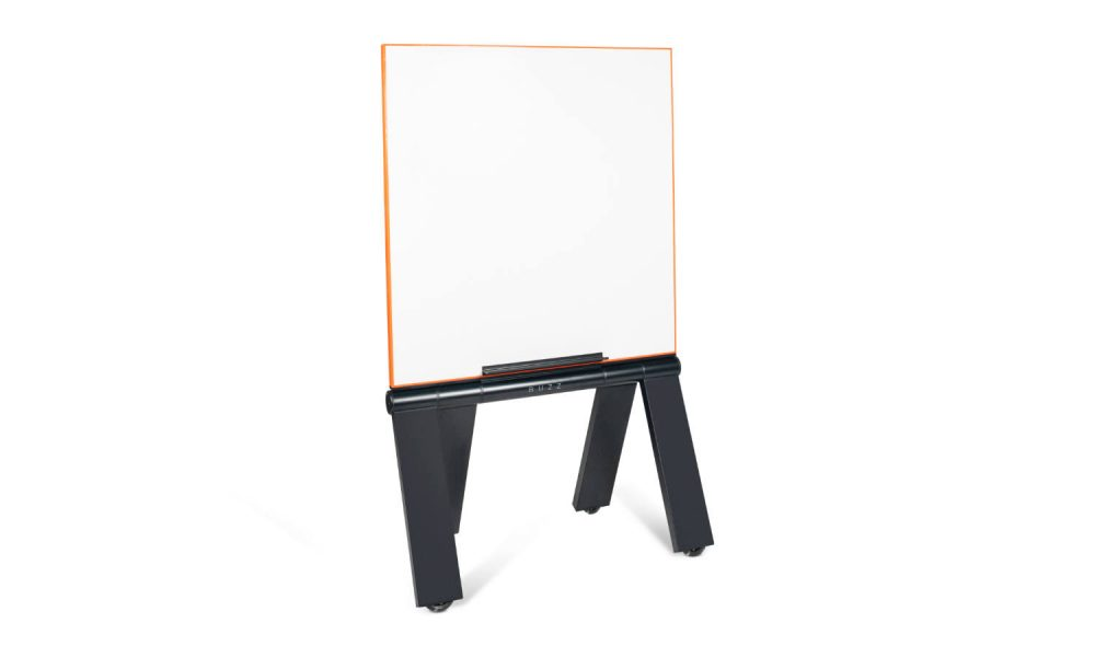 whiteboard with black legs