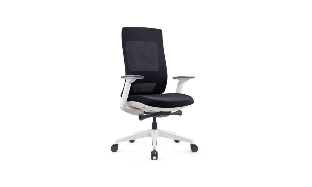 white office task chair with white nylon base