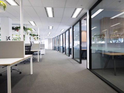 row of office meeting rooms
